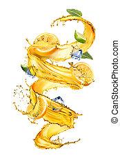 yellow splash with orange, ice and mint