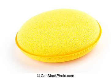 Yellow sponge isolated on white background