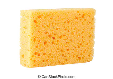 Yellow natural facial cellulose sponge isolated on white