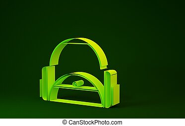 Yellow Sport bag icon isolated on green background. Minimalism concept. 3d illustration 3D render