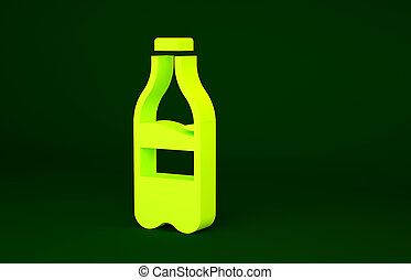 Yellow Sport bottle with water icon isolated on green background. Minimalism concept. 3d illustration 3D render