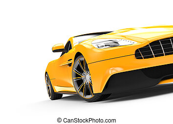 Yellow sport car isolated on a white background