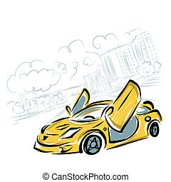 Yellow sport car on city background for your design