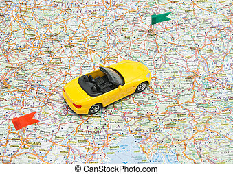yellow sport car on map