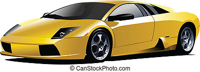 Yellow sport  car on the road. Vector illustration
