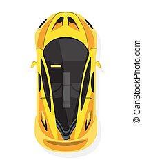 Yellow sport car, top view in flat style isolated on a white background