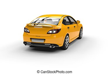 Yellow Sports Car - Back View