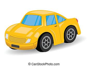 Yellow Sports Car Cartoon - Vector Illustration