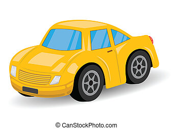 Yellow Sports Car Cartoon - Vector