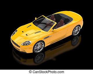 Yellow sports car convertible