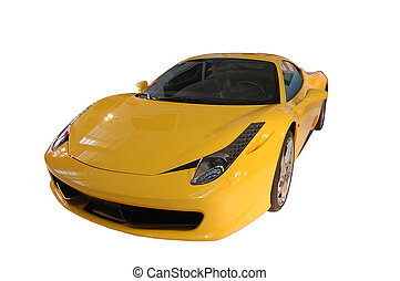 Yellow sports car at the show