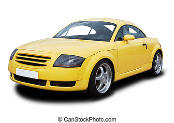 Yellow Sports Car - A yellow sports car isolated on white