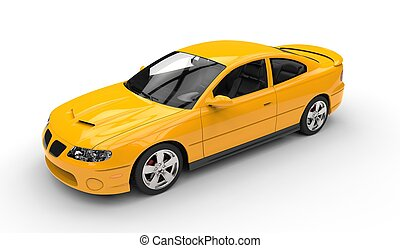 Yellow Sports Car Top Side View