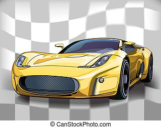 Yellow sports car.