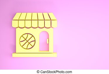 Yellow Sports shop and basketball ball icon isolated on pink background. Sport store. Minimalism concept. 3d illustration 3D render