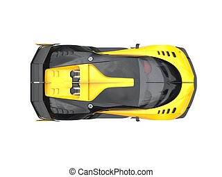 Yellow sports supercar - top down view