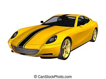 Yellow Sportscar - 3D digital render of a yellow sportscar ...