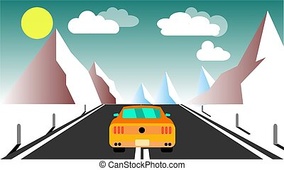 Yellow sporty fast beautiful powerful car rides along the road against a background of a mountain winter landscape and evening clouds and copy space. Vector illustration