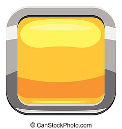 Yellow square button icon, cartoon style