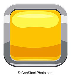 Yellow square button icon, cartoon style