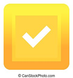 Yellow square button icon, flat style