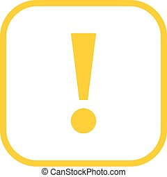 Yellow square exclamation mark icon warning sign