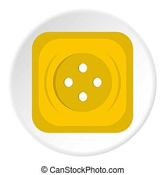 Yellow square sewing button icon circle