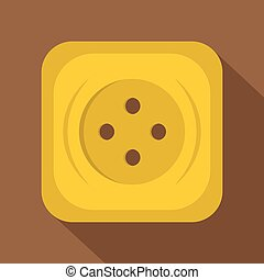 Yellow square sewing button icon, flat style