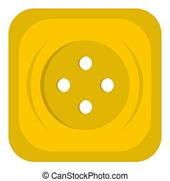 Yellow square sewing button icon isolated