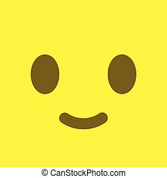 Yellow square smiley button. Positive emotion and satisfaction sign.