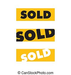 yellow square sold sign sold sticker isolated on white