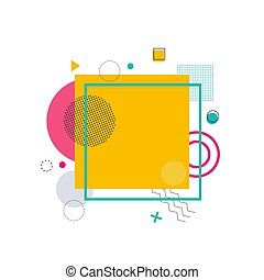 Yellow Square with Frame on Vector Illustration