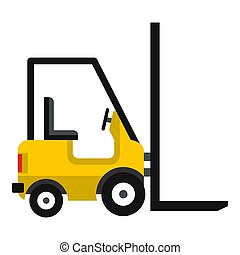 Yellow stacker loader icon, flat style