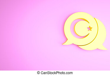 Yellow Star and crescent - symbol of Islam icon isolated on pink background. Religion symbol. Minimalism concept. 3d illustration 3D render