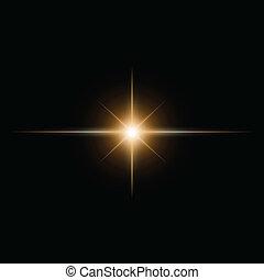 yellow  Star burst  light beam vector