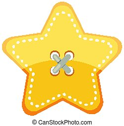 Yellow star button on white background