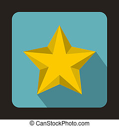 Yellow star icon in flat style
