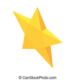 Yellow star icon, isometric 3d style