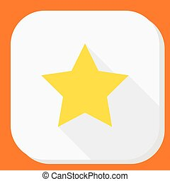 Yellow star icon with long shadow. Modern simple flat sign. Internet concept. Trendy vector symbol for website, web button, mobile app.