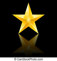 Yellow star on black - Yellow star of five points on black...