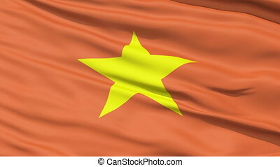 Yellow Star On Vietnam Flag - A close up of the yellow star...
