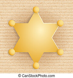 Yellow star sheriff on cardboard background