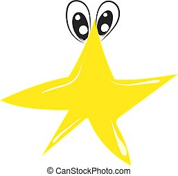 Yellow star with eyes, illustration, vector on white background.