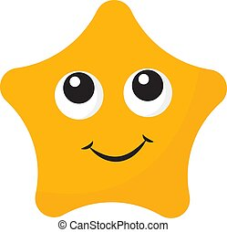 Yellow star with eyes, illustration, vector on white background