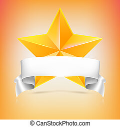 Yellow star with white ribbon on colored background. Volumetric metal star with reflections and shadows. Symbol of victory in competitions or contests, template for your design. 3D illustration.