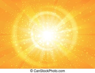Yellow starburst background with sparkles. Shiny sun rays...
