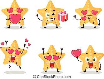 Yellow starfish cartoon character with love cute emoticon