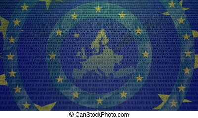Animation of yellow stars spinning over an EU map on blue background. Finance and technology concept digital composite