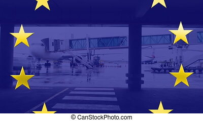 Yellow stars spinning over blue background against airport ...