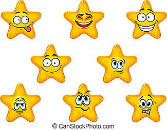 Yellow stars with happy anf cheerful emotions isolated on white background